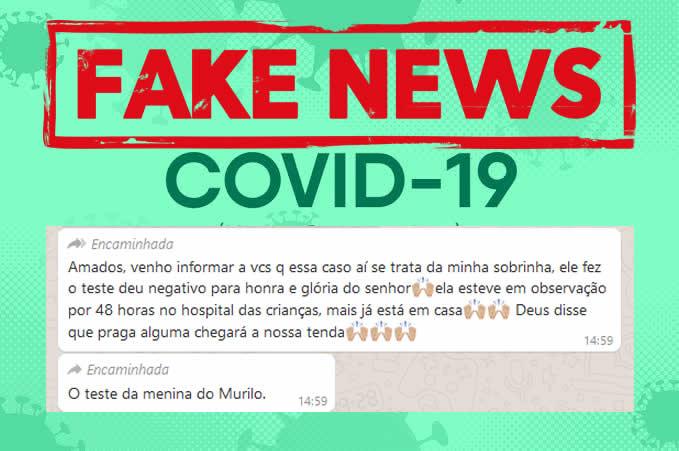 Mensagem informando suposto resultado de exame em suspeita de São Gonçalo é FAKE NEWS