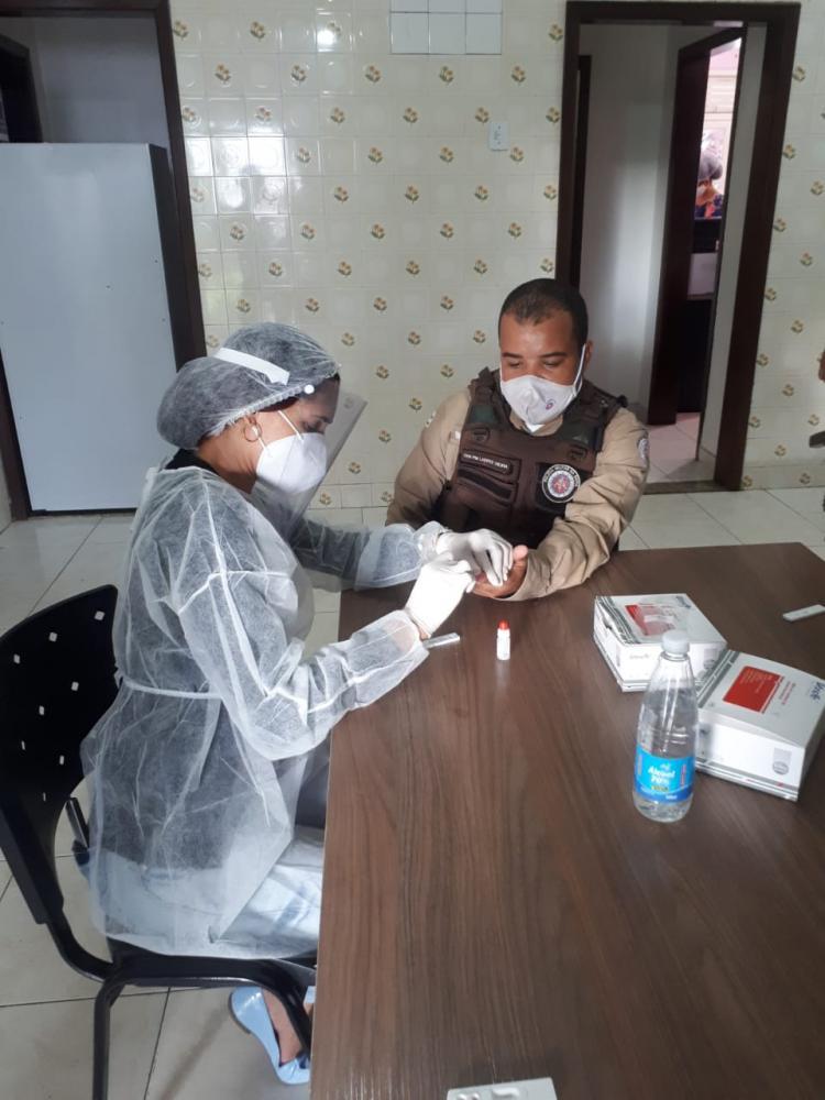 Secretaria da Saúde de São Gonçalo dos Campos inicia teste de Covid-19 em efetivo da 67 CIPM
