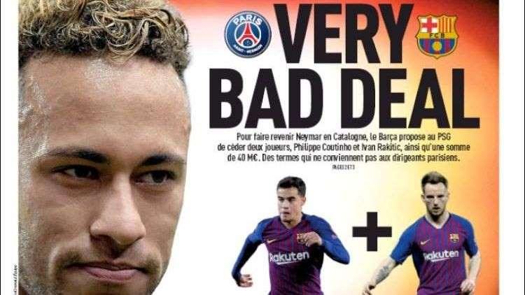 © Reprodução Jornal francês 'L'Equipe' revela proposta do Barcelona ao PSG por Neymar em sua capa