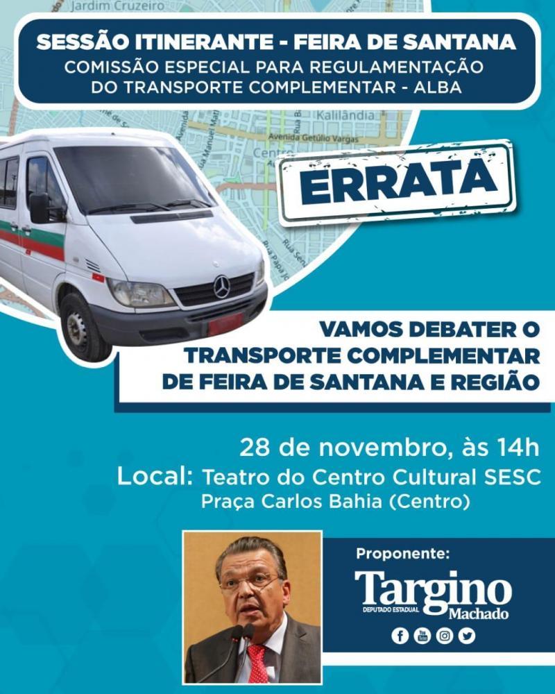Sessão Itinerante discutirá regulamentação do transporte complementar em Feira e Região Metropolitana