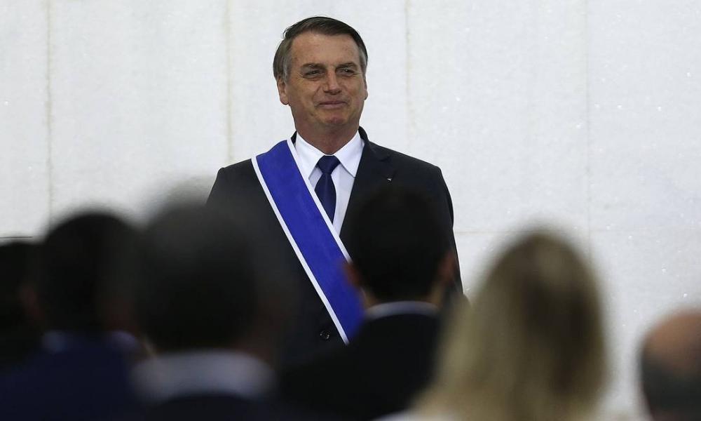 O presidente Jair Bolsonaro em cerimônia no Instituto Rio Branco Foto: Jorge William / Agência O Globo